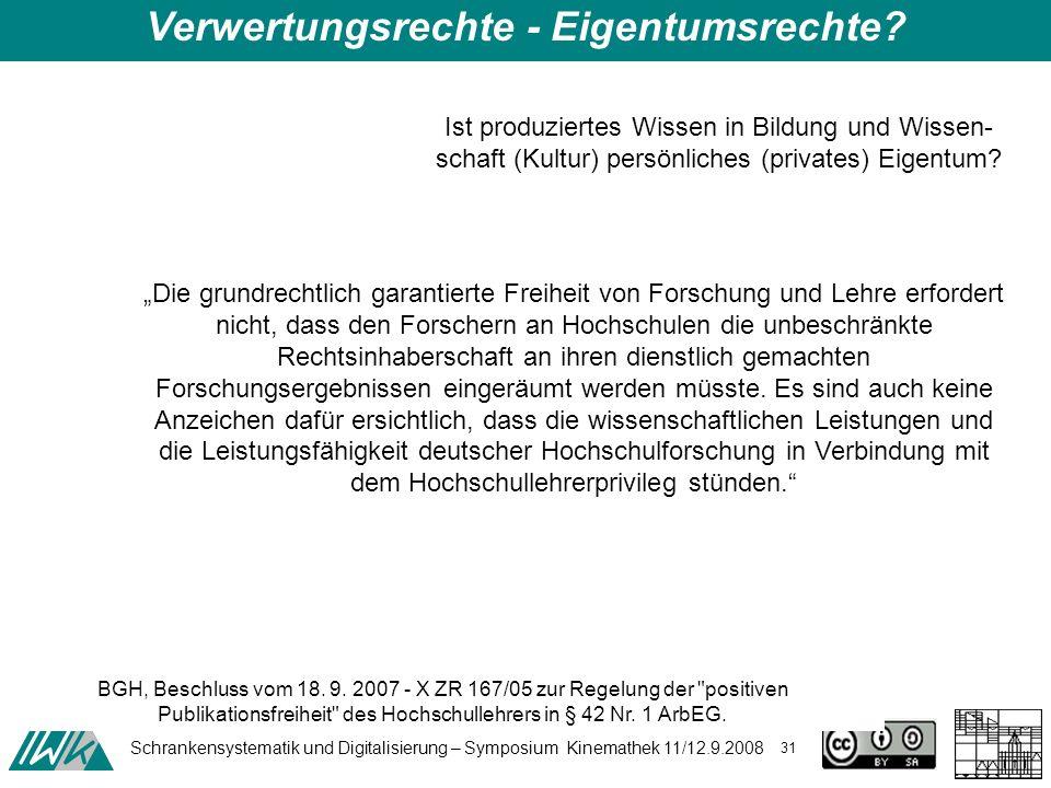 Schrankensystematik und Digitalisierung – Symposium Kinemathek 11/12.9.2008 31 Ist produziertes Wissen in Bildung und Wissen- schaft (Kultur) persönliches (privates) Eigentum.