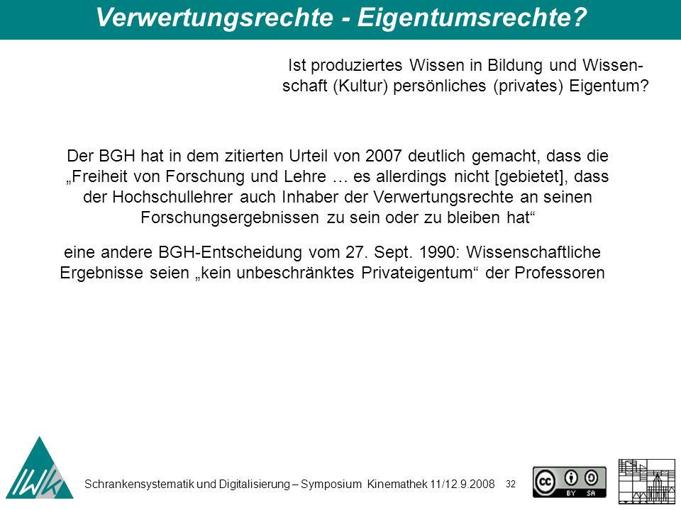 Schrankensystematik und Digitalisierung – Symposium Kinemathek 11/12.9.2008 32 Der BGH hat in dem zitierten Urteil von 2007 deutlich gemacht, dass die