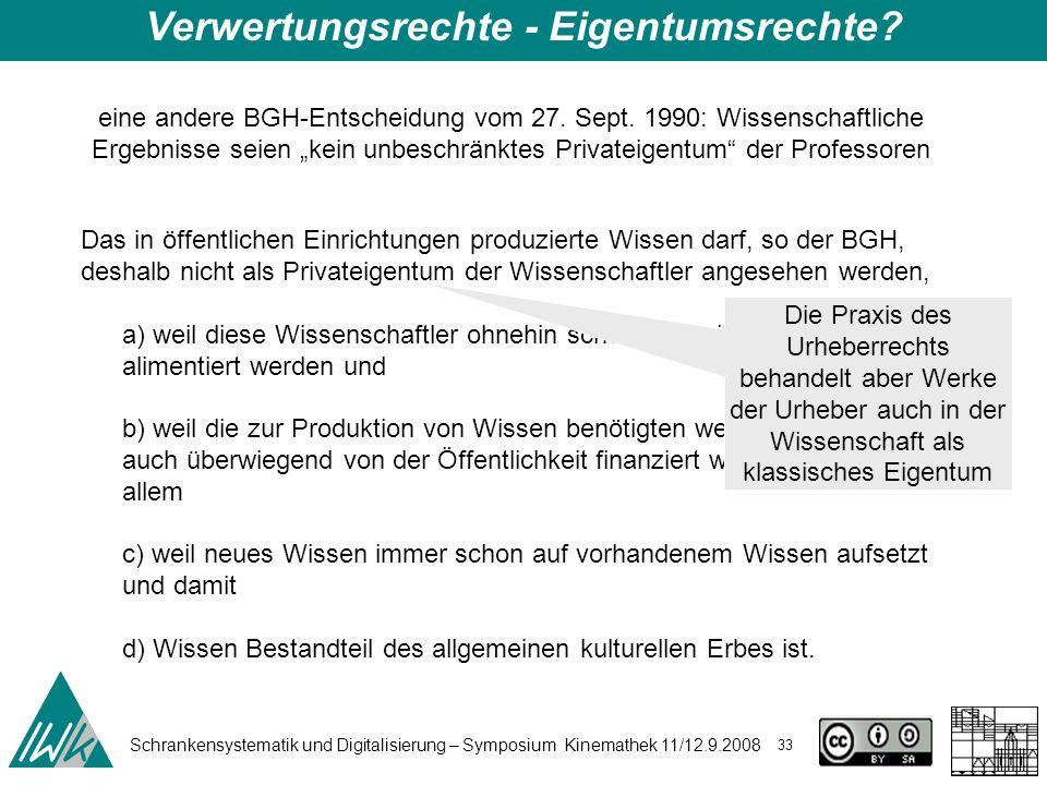 Schrankensystematik und Digitalisierung – Symposium Kinemathek 11/12.9.2008 33 Verwertungsrechte - Eigentumsrechte? eine andere BGH-Entscheidung vom 2
