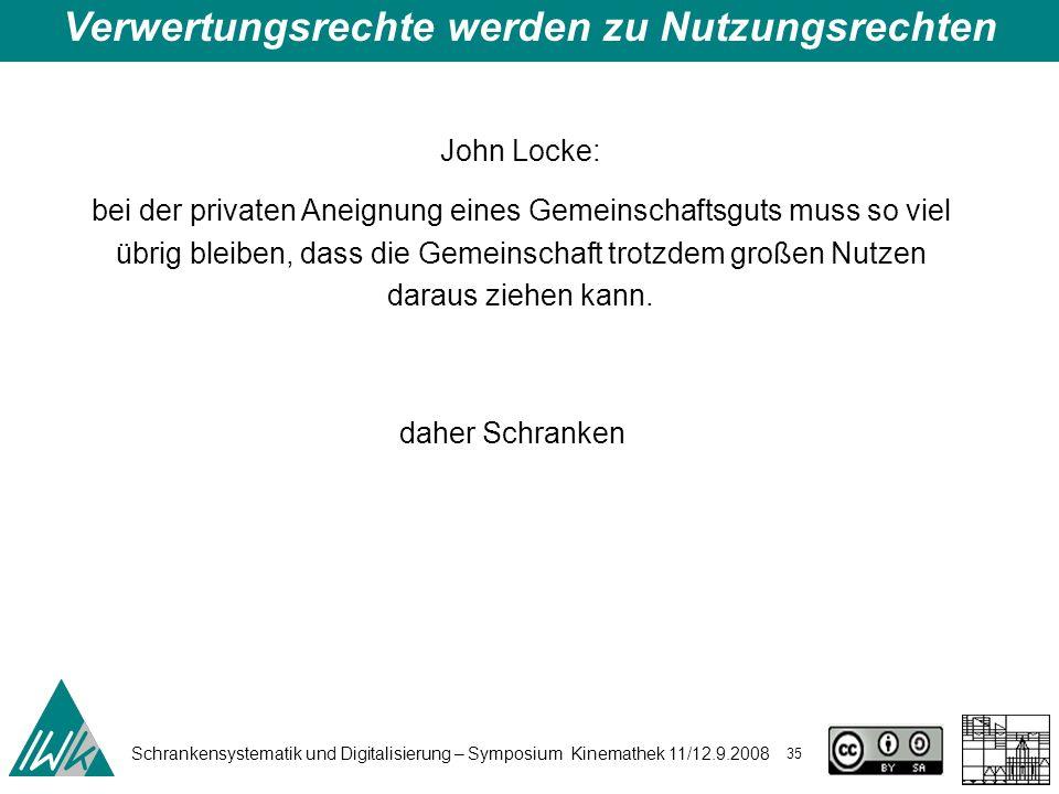Schrankensystematik und Digitalisierung – Symposium Kinemathek 11/12.9.2008 35 Verwertungsrechte werden zu Nutzungsrechten John Locke: bei der private