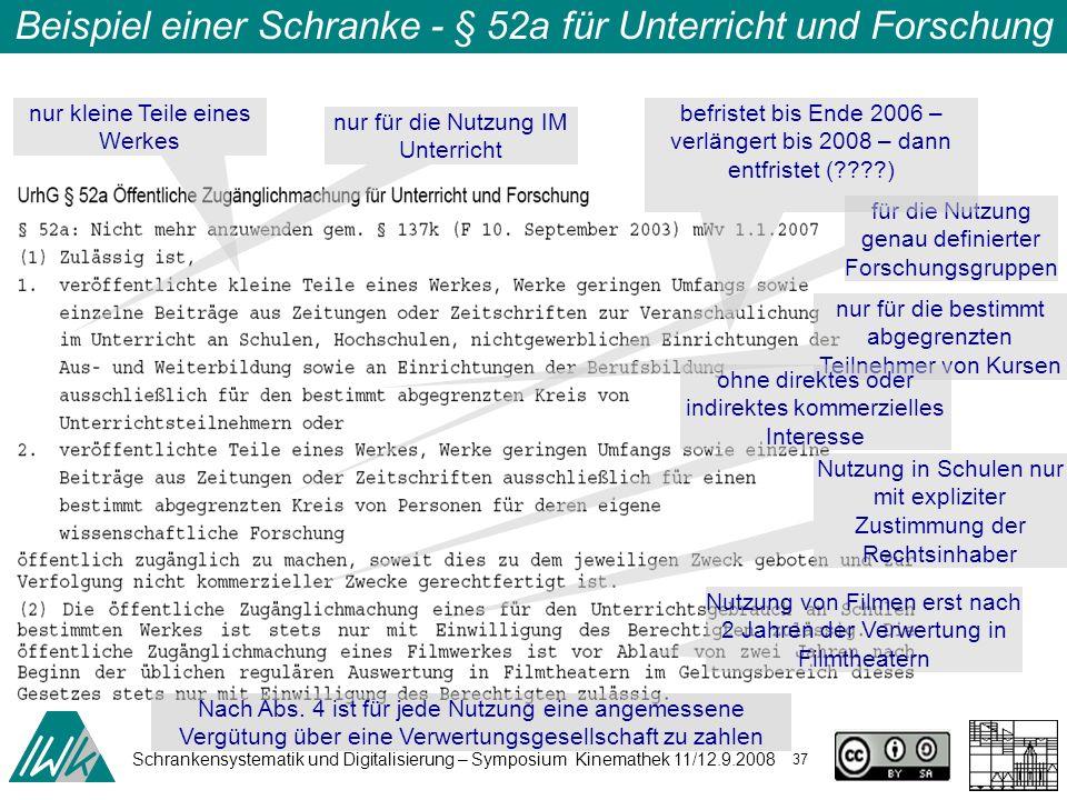 Schrankensystematik und Digitalisierung – Symposium Kinemathek 11/12.9.2008 37 Beispiel einer Schranke - § 52a für Unterricht und Forschung nur kleine