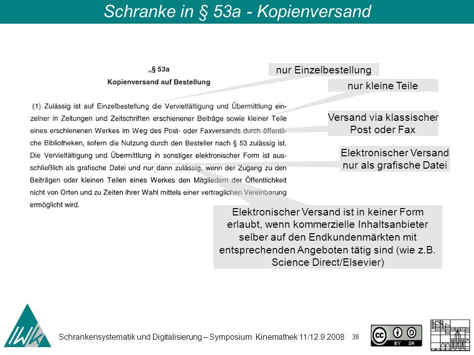 Schrankensystematik und Digitalisierung – Symposium Kinemathek 11/12.9.2008 38 Schranke in § 53a - Kopienversand nur Einzelbestellung nur kleine Teile