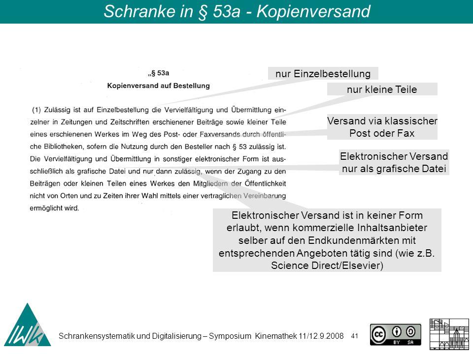 Schrankensystematik und Digitalisierung – Symposium Kinemathek 11/12.9.2008 41 Schranke in § 53a - Kopienversand nur Einzelbestellung nur kleine Teile