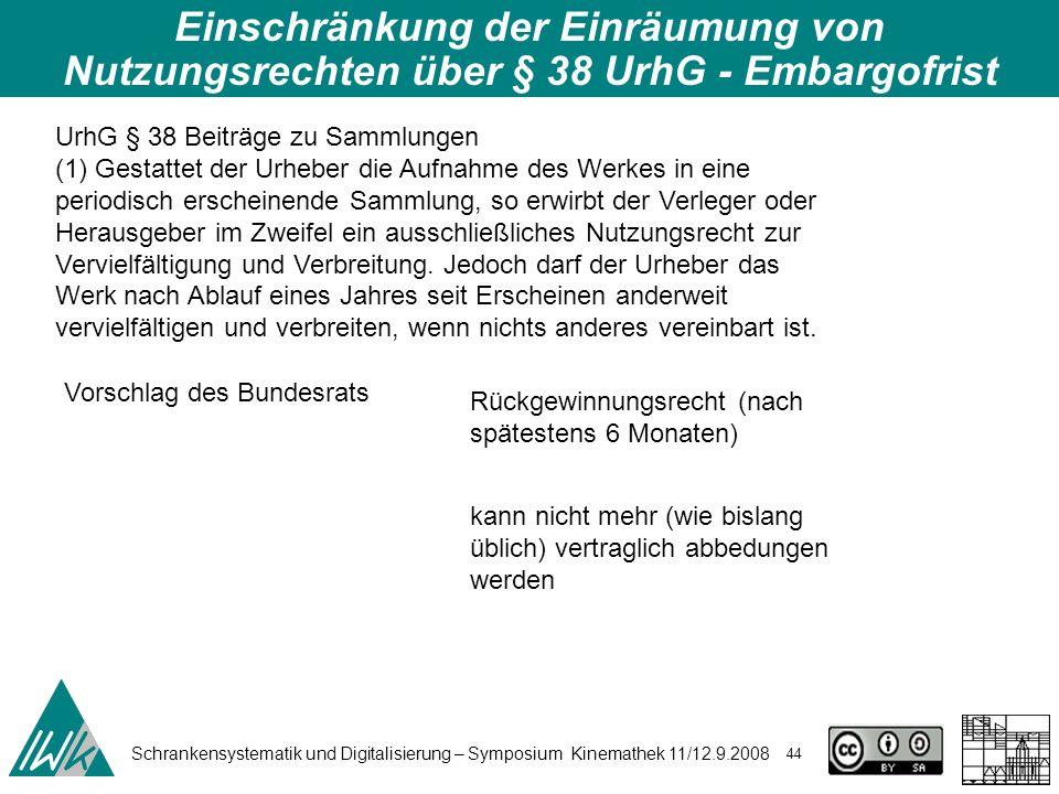 Schrankensystematik und Digitalisierung – Symposium Kinemathek 11/12.9.2008 44 Einschränkung der Einräumung von Nutzungsrechten über § 38 UrhG - Embar