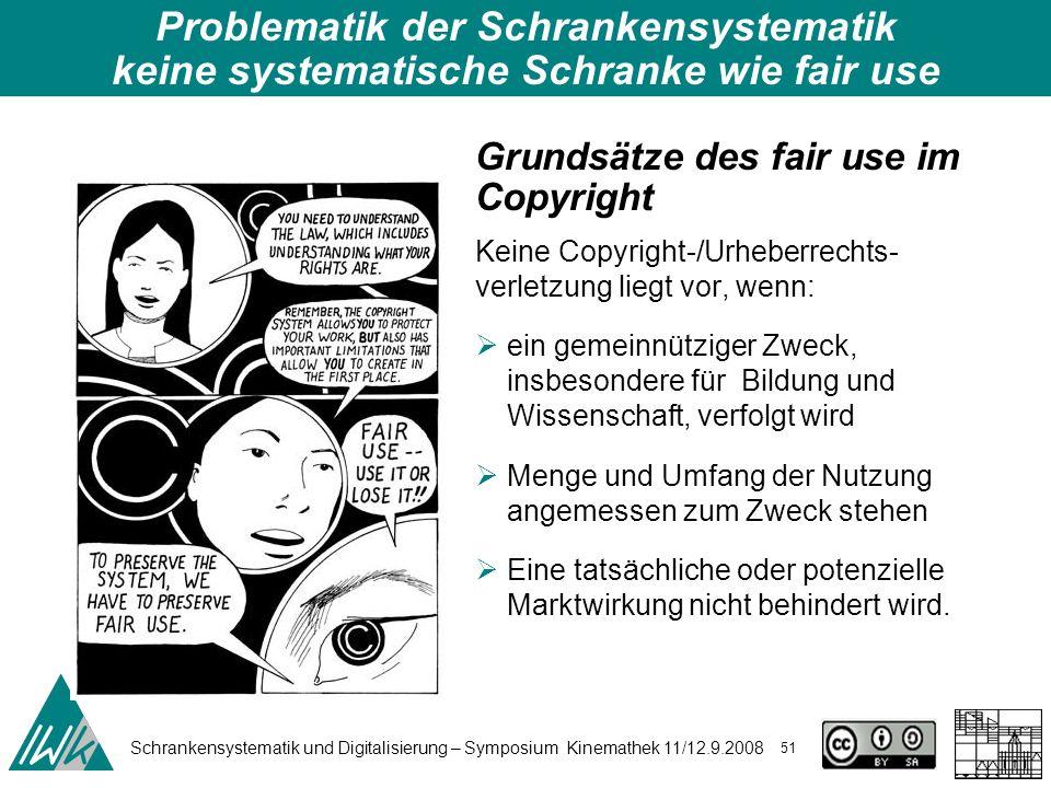 Schrankensystematik und Digitalisierung – Symposium Kinemathek 11/12.9.2008 51 Grundsätze des fair use im Copyright Keine Copyright-/Urheberrechts- ve