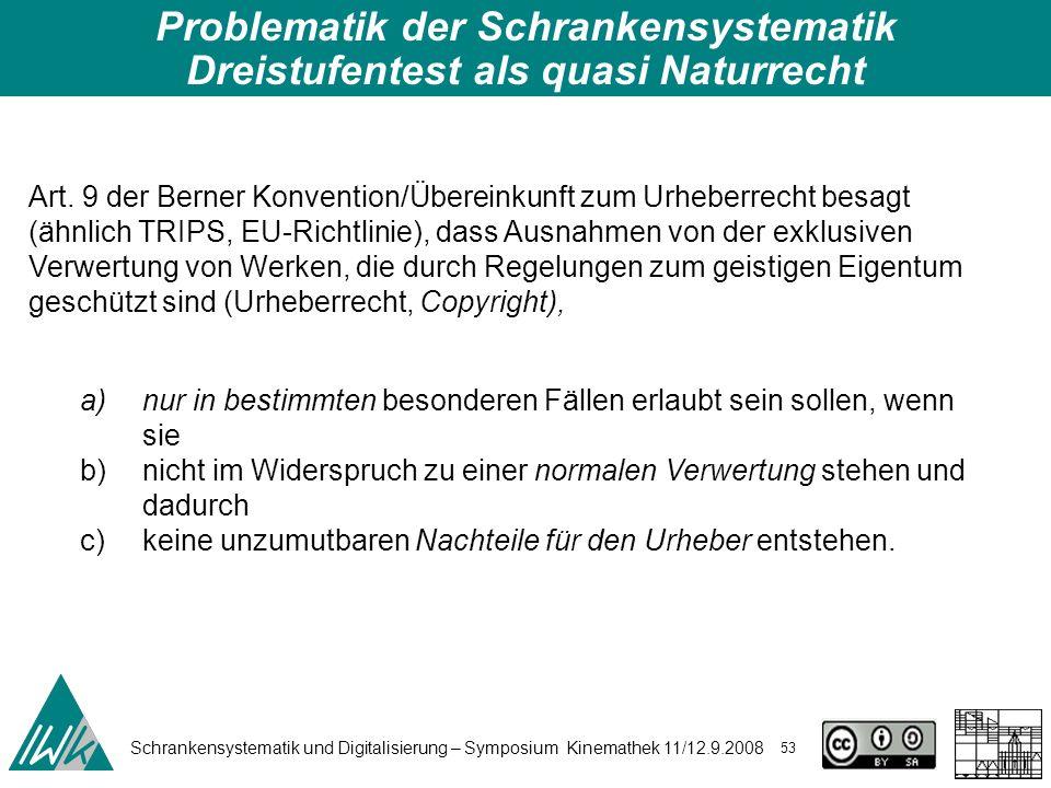 Schrankensystematik und Digitalisierung – Symposium Kinemathek 11/12.9.2008 53 Problematik der Schrankensystematik Dreistufentest als quasi Naturrecht