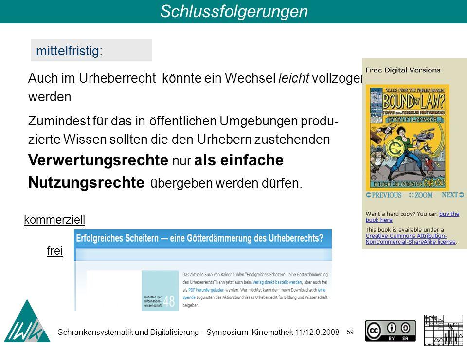 Schrankensystematik und Digitalisierung – Symposium Kinemathek 11/12.9.2008 59 Schlussfolgerungen mittelfristig: Auch im Urheberrecht könnte ein Wechs