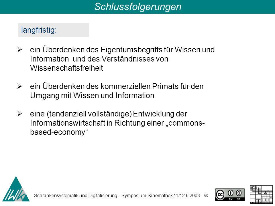 Schrankensystematik und Digitalisierung – Symposium Kinemathek 11/12.9.2008 60 Schlussfolgerungen langfristig: ein Überdenken des Eigentumsbegriffs fü
