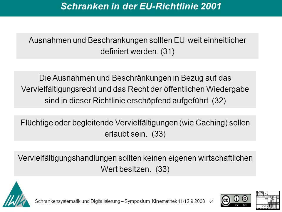 Schrankensystematik und Digitalisierung – Symposium Kinemathek 11/12.9.2008 64 Schranken in der EU-Richtlinie 2001 Ausnahmen und Beschränkungen sollte