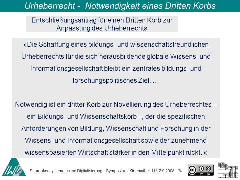 Schrankensystematik und Digitalisierung – Symposium Kinemathek 11/12.9.2008 74 Urheberrecht - Notwendigkeit eines Dritten Korbs »Die Schaffung eines b