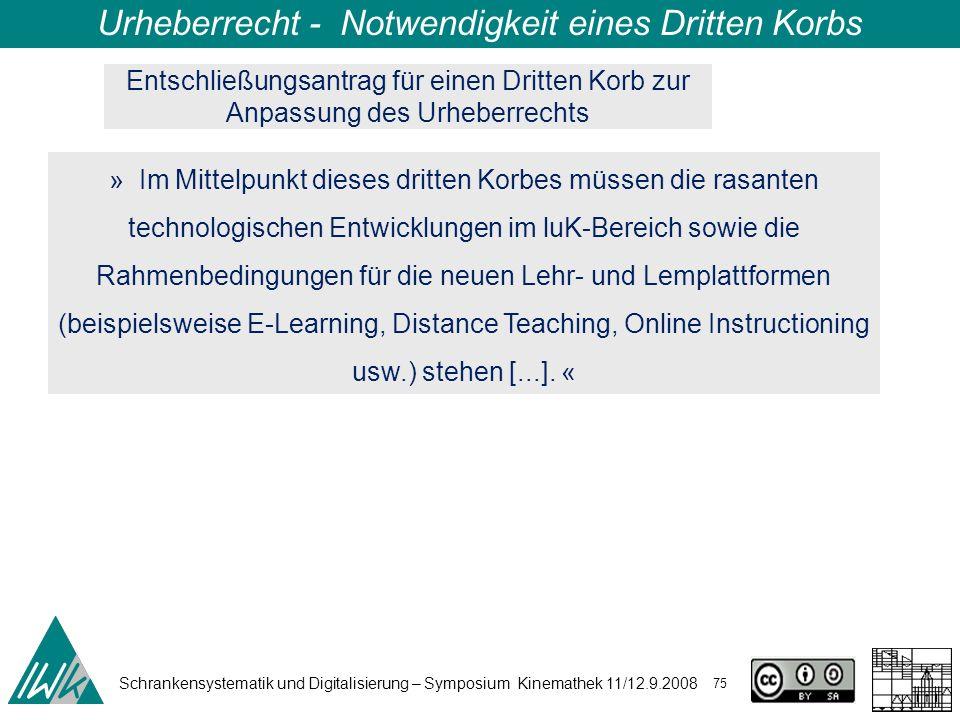 Schrankensystematik und Digitalisierung – Symposium Kinemathek 11/12.9.2008 75 Urheberrecht - Notwendigkeit eines Dritten Korbs » Im Mittelpunkt diese