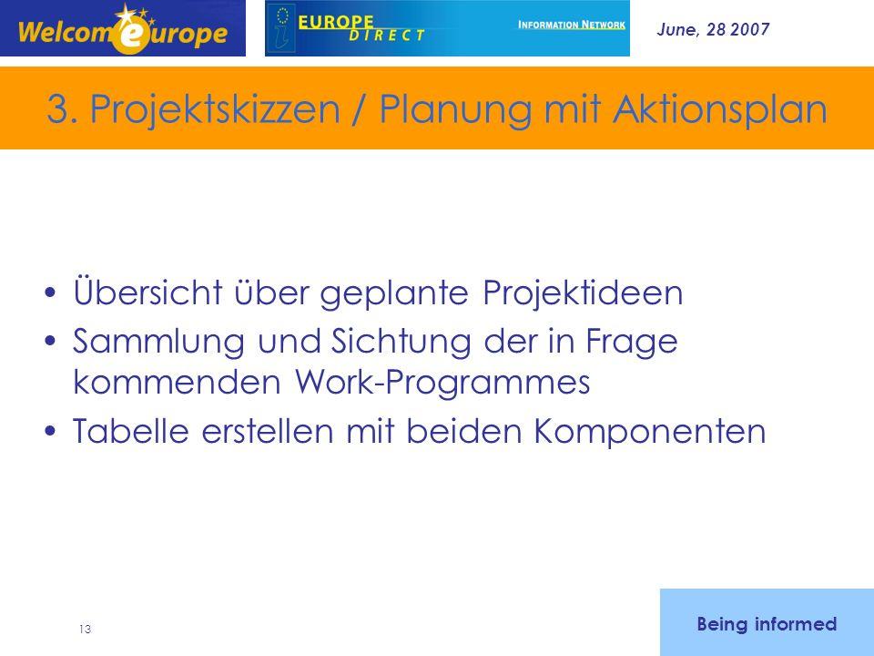 June, 28 2007 13 3. Projektskizzen / Planung mit Aktionsplan Übersicht über geplante Projektideen Sammlung und Sichtung der in Frage kommenden Work-Pr