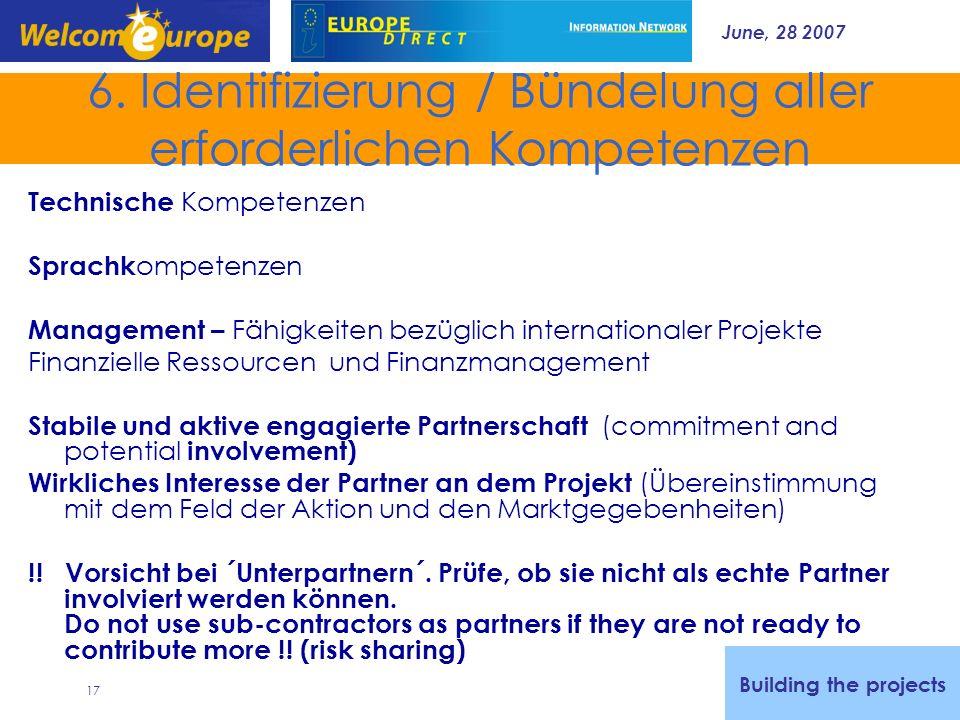 June, 28 2007 17 6. Identifizierung / Bündelung aller erforderlichen Kompetenzen Technische Kompetenzen Sprachk ompetenzen Management – Fähigkeiten be