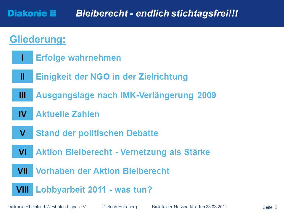 Diakonie Rheinland-Westfalen-Lippe e.V. Dietrich Eckeberg Bielefelder Netzwerktreffen 23.03.2011 Seite 2 Bleiberecht - endlich stichtagsfrei!!! Gliede