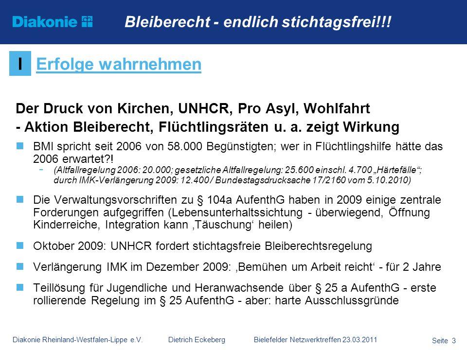 Diakonie Rheinland-Westfalen-Lippe e.V. Dietrich Eckeberg Bielefelder Netzwerktreffen 23.03.2011 Seite 3 Der Druck von Kirchen, UNHCR, Pro Asyl, Wohlf