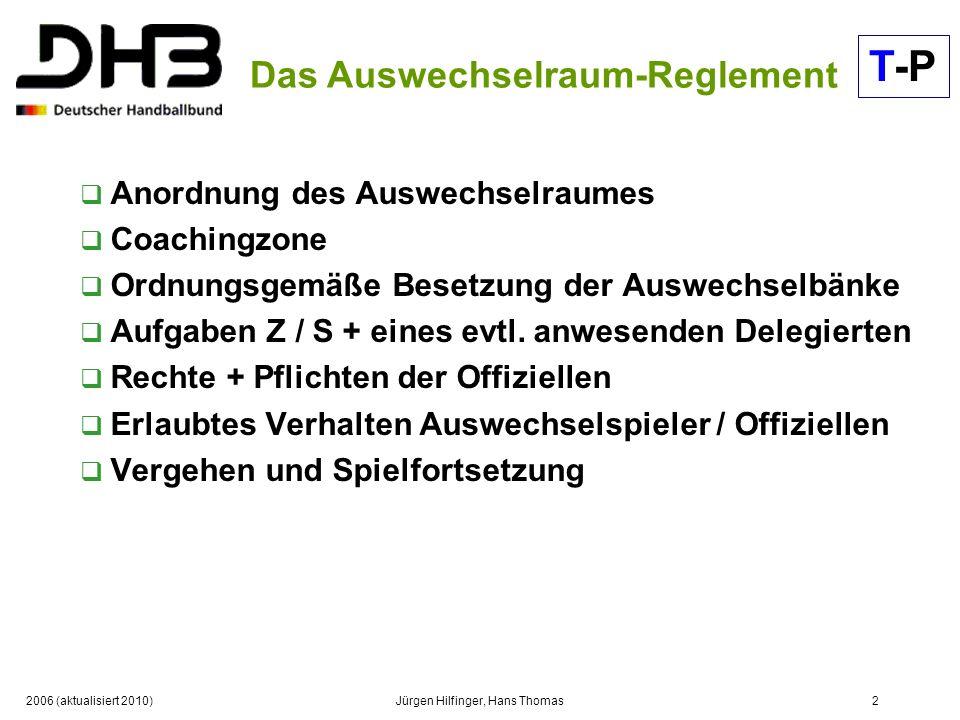 2006 (aktualisiert 2010)Jürgen Hilfinger, Hans Thomas2 Das Auswechselraum-Reglement Anordnung des Auswechselraumes Coachingzone Ordnungsgemäße Besetzu