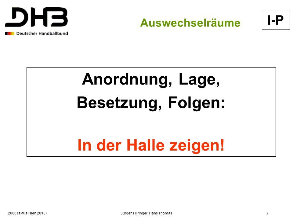 2006 (aktualisiert 2010)Jürgen Hilfinger, Hans Thomas3 Auswechselräume Anordnung, Lage, Besetzung, Folgen: In der Halle zeigen! I-P