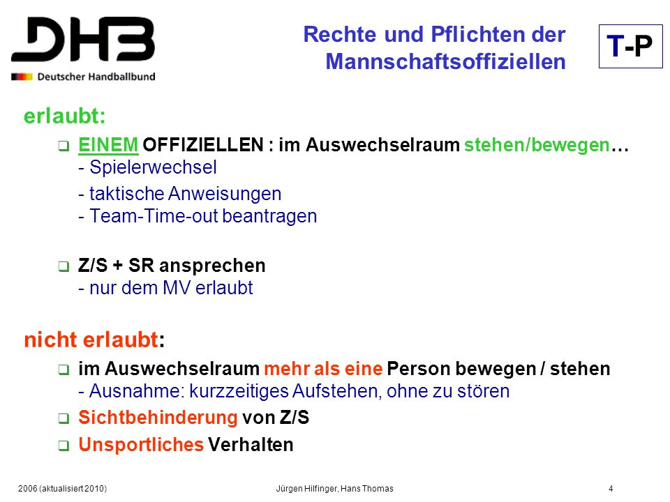 2006 (aktualisiert 2010)Jürgen Hilfinger, Hans Thomas5 Rechte und Pflichten der Spieler Spieler sitzen grundsätzlich auf Auswechselbank.