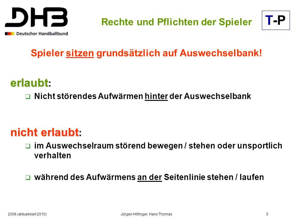 2006 (aktualisiert 2010)Jürgen Hilfinger, Hans Thomas5 Rechte und Pflichten der Spieler Spieler sitzen grundsätzlich auf Auswechselbank! erlaubt erlau