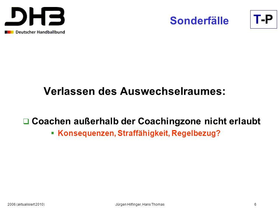 2006 (aktualisiert 2010)Jürgen Hilfinger, Hans Thomas6 Sonderfälle Verlassen des Auswechselraumes: Coachen außerhalb der Coachingzone nicht erlaubt Ko