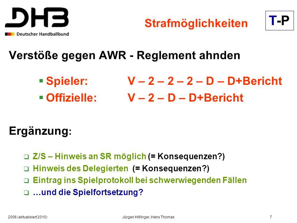 2006 (aktualisiert 2010)Jürgen Hilfinger, Hans Thomas7 Strafmöglichkeiten Verstöße gegen AWR - Reglement ahnden Spieler: V – 2 – 2 – 2 – D – D+Bericht