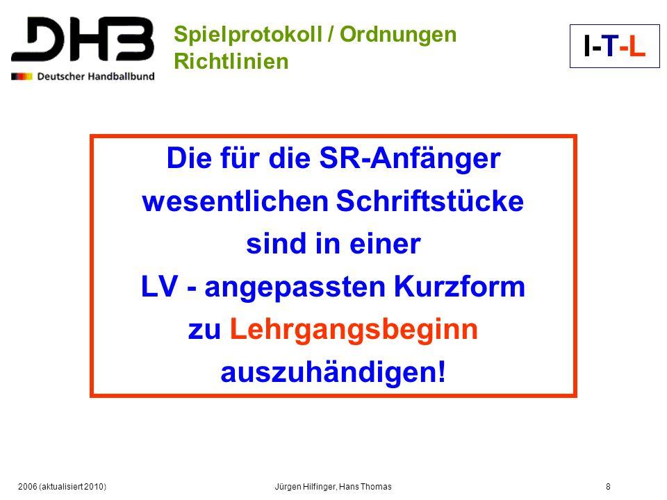 2006 (aktualisiert 2010)Jürgen Hilfinger, Hans Thomas8 Spielprotokoll / Ordnungen Richtlinien Die für die SR-Anfänger wesentlichen Schriftstücke sind