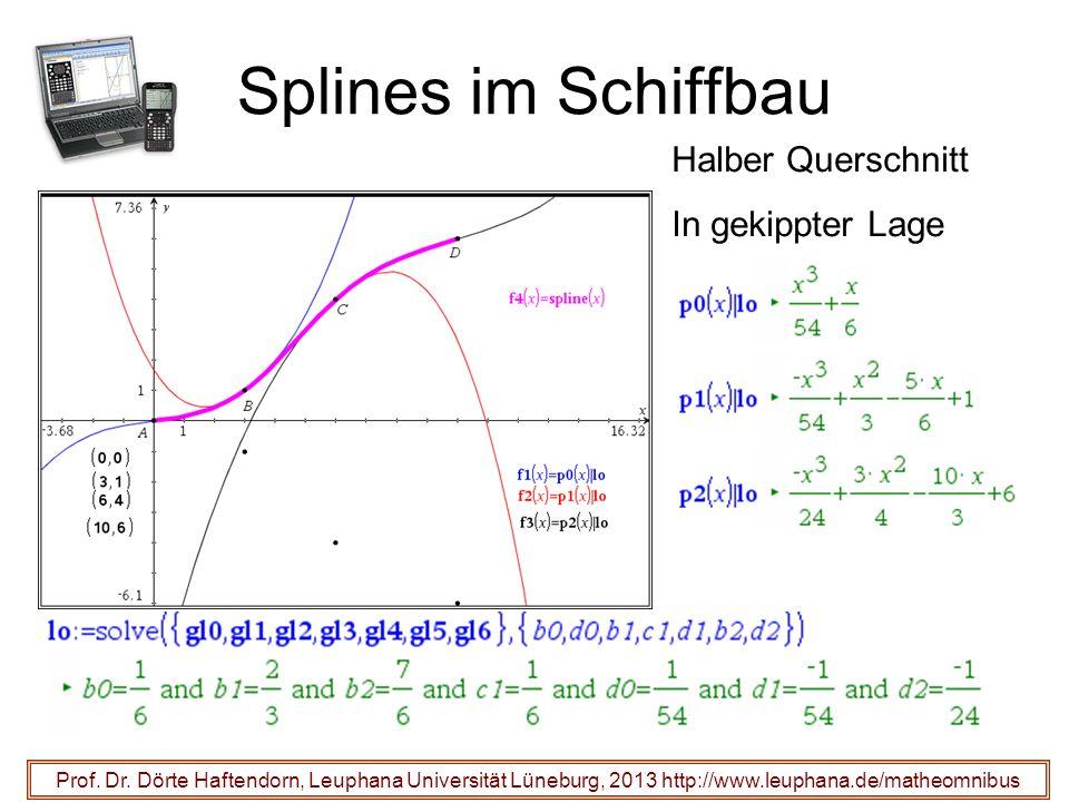 Splines im Schiffbau Prof. Dr. Dörte Haftendorn, Leuphana Universität Lüneburg, 2013 http://www.leuphana.de/matheomnibus Halber Querschnitt In gekippt