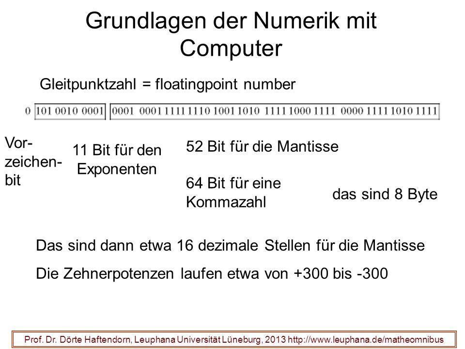 Grundlagen der Numerik mit Computer 11 Bit für den Exponenten Prof. Dr. Dörte Haftendorn, Leuphana Universität Lüneburg, 2013 http://www.leuphana.de/m