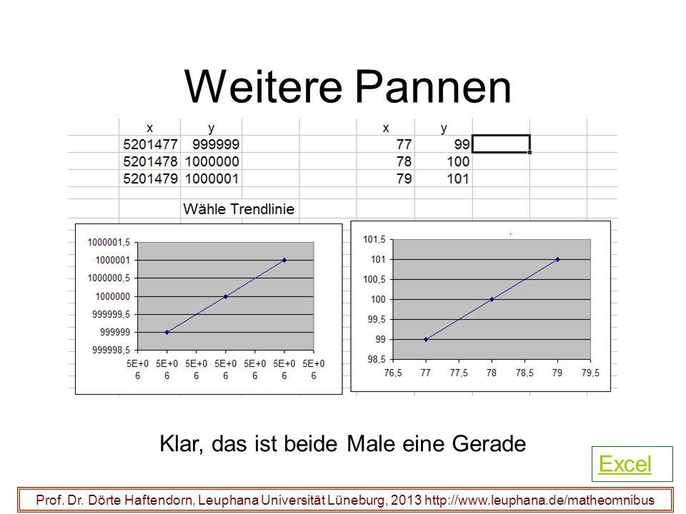 Weitere Pannen Prof. Dr. Dörte Haftendorn, Leuphana Universität Lüneburg, 2013 http://www.leuphana.de/matheomnibus Klar, das ist beide Male eine Gerad