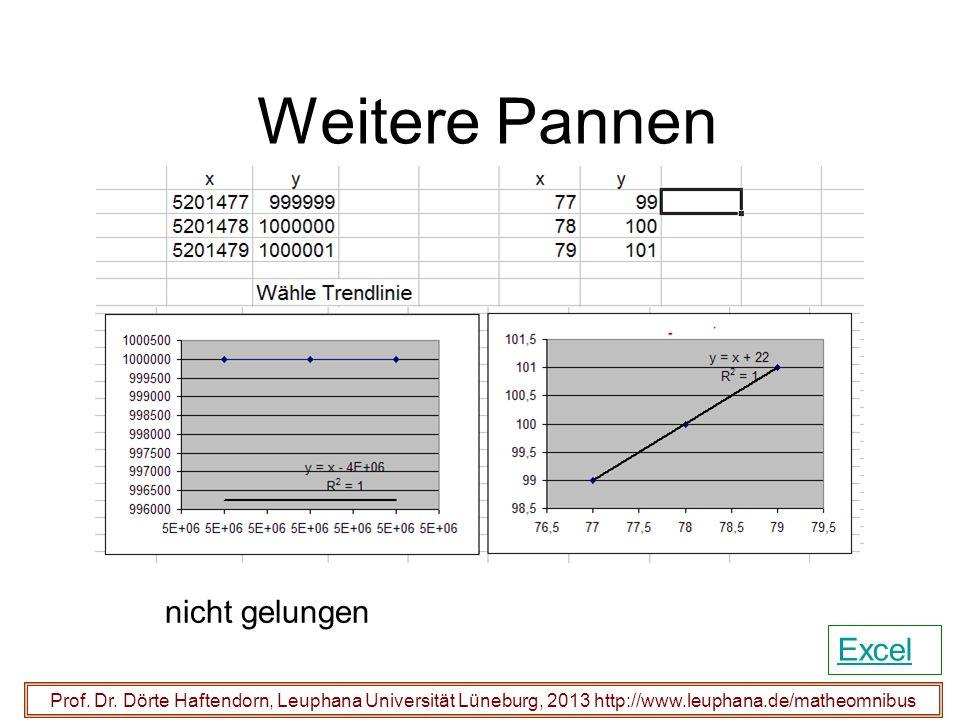 Weitere Pannen Prof. Dr. Dörte Haftendorn, Leuphana Universität Lüneburg, 2013 http://www.leuphana.de/matheomnibus nicht gelungen Excel