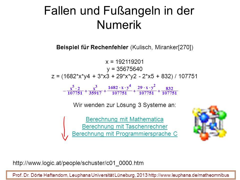 Fallen und Fußangeln in der Numerik Beispiel für Rechenfehler (Kulisch, Miranker[270]) x = 192119201 y = 35675640 z = (1682*x*y4 + 3*x3 + 29*x*y2 - 2*