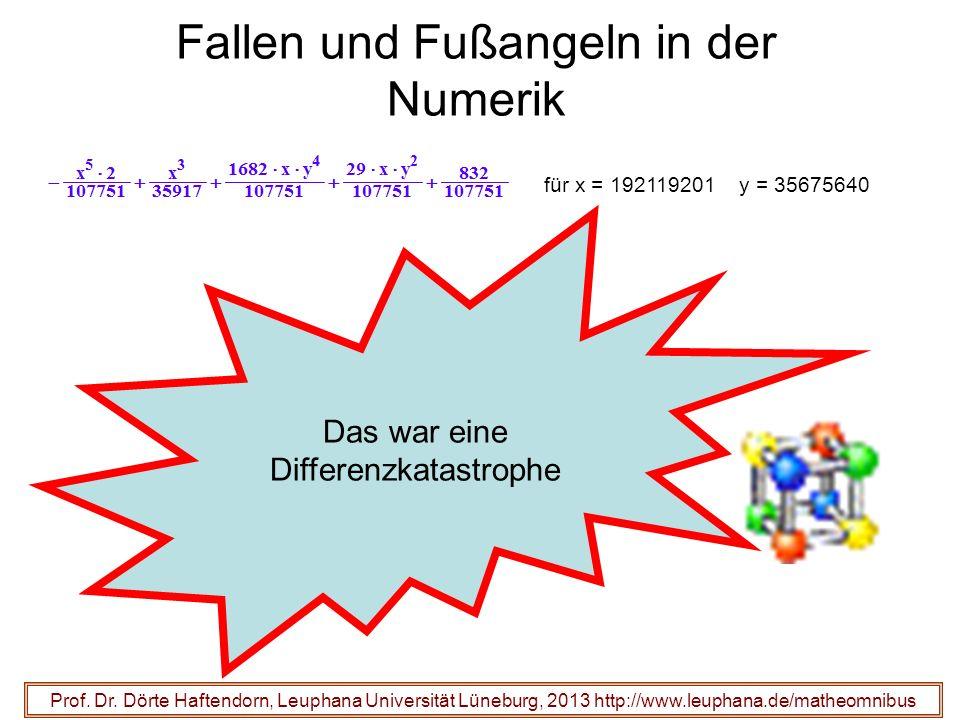 Fallen und Fußangeln in der Numerik Prof. Dr. Dörte Haftendorn, Leuphana Universität Lüneburg, 2013 http://www.leuphana.de/matheomnibus Das war eine D