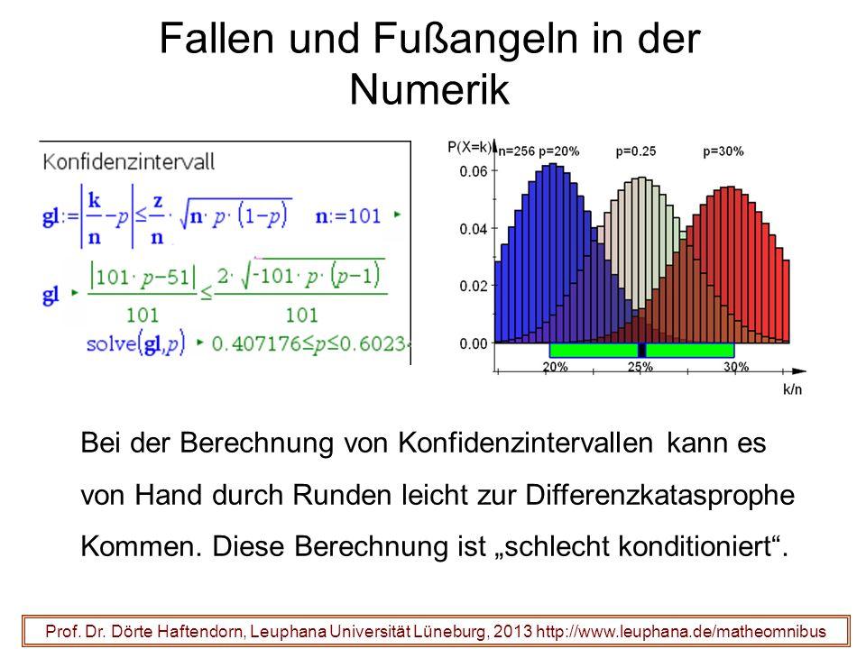 Fallen und Fußangeln in der Numerik Prof. Dr. Dörte Haftendorn, Leuphana Universität Lüneburg, 2013 http://www.leuphana.de/matheomnibus Bei der Berech