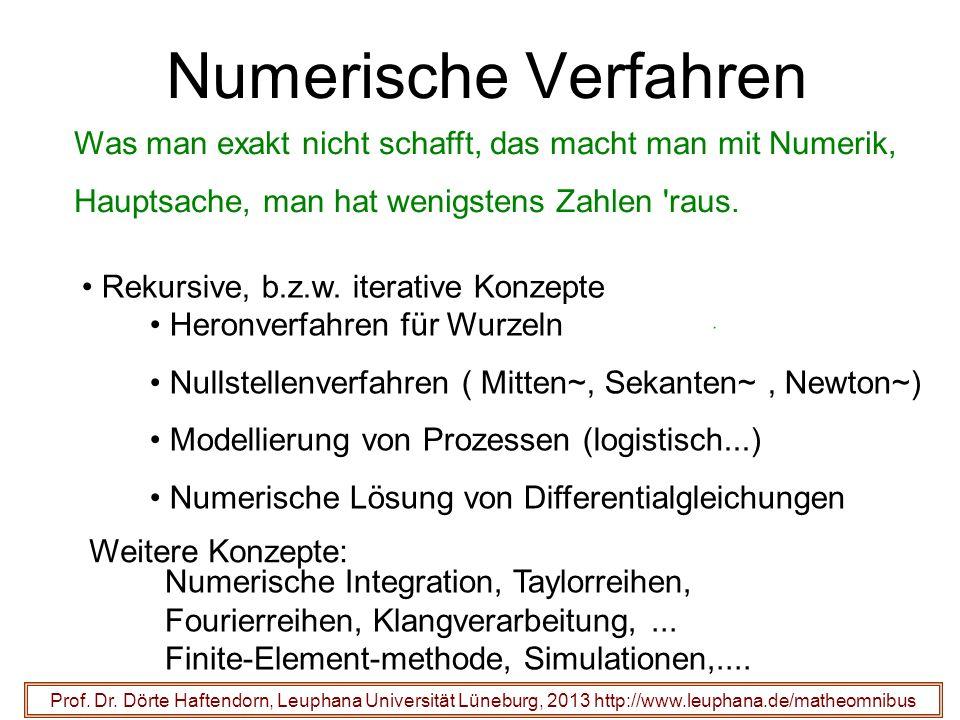 Numerische Verfahren Prof. Dr. Dörte Haftendorn, Leuphana Universität Lüneburg, 2013 http://www.leuphana.de/matheomnibus Was man exakt nicht schafft,