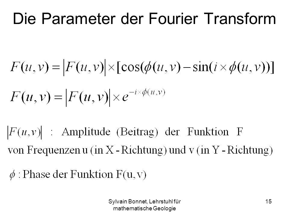 Sylvain Bonnet, Lehrstuhl für mathematische Geologie 15 Die Parameter der Fourier Transform