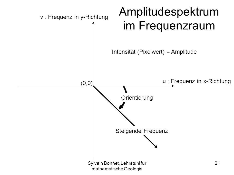 Sylvain Bonnet, Lehrstuhl für mathematische Geologie 21 Steigende Frequenz Amplitudespektrum im Frequenzraum Orientierung v : Frequenz in y-Richtung u