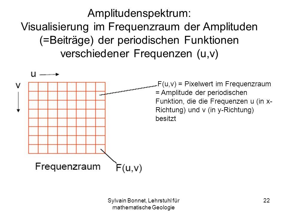 Sylvain Bonnet, Lehrstuhl für mathematische Geologie 22 Amplitudenspektrum: Visualisierung im Frequenzraum der Amplituden (=Beiträge) der periodischen
