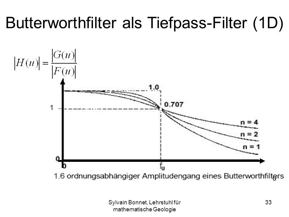 Sylvain Bonnet, Lehrstuhl für mathematische Geologie 33 Butterworthfilter als Tiefpass-Filter (1D) u 1