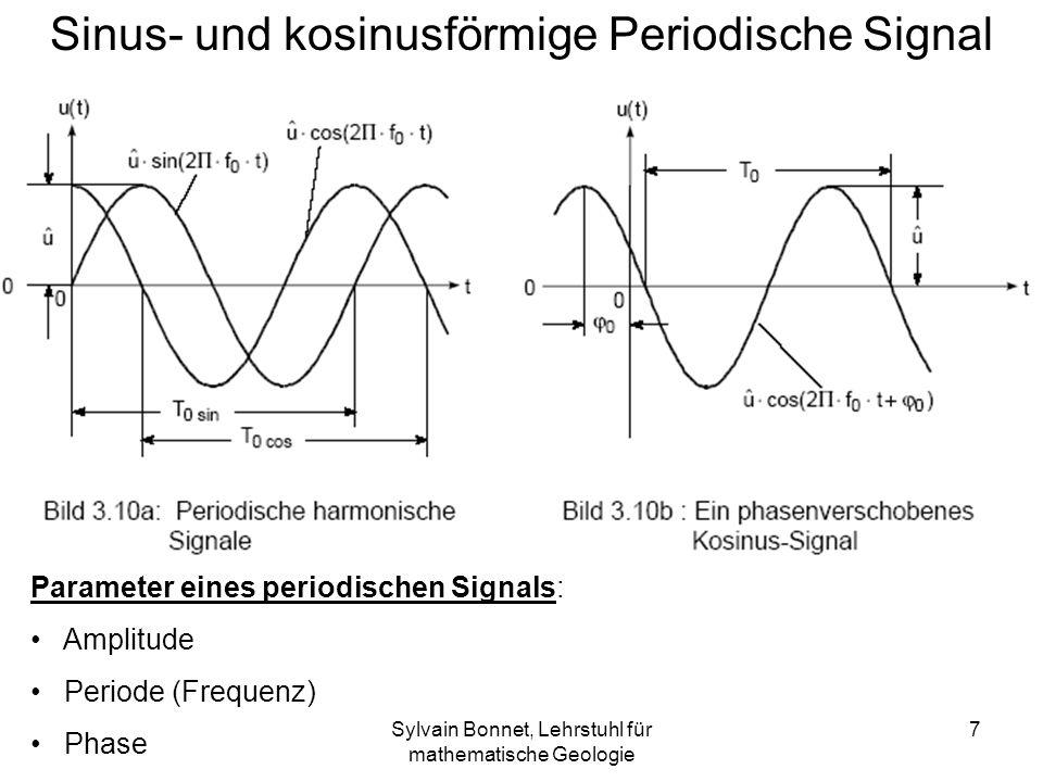 Sylvain Bonnet, Lehrstuhl für mathematische Geologie 7 Sinus- und kosinusförmige Periodische Signal Parameter eines periodischen Signals: Amplitude Pe