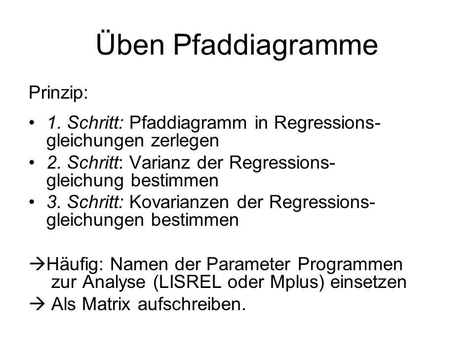 Üben Pfaddiagramme Prinzip: 1. Schritt: Pfaddiagramm in Regressions- gleichungen zerlegen 2. Schritt: Varianz der Regressions- gleichung bestimmen 3.