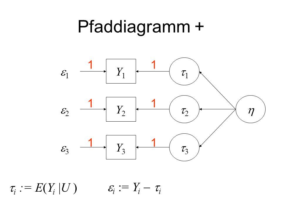Pfaddiagramm + Y3Y3 Y2Y2 Y1Y1 1 2 3 1 2 3 i := E(Y i |U ) i := Y i i 1 1 1 1 1 1