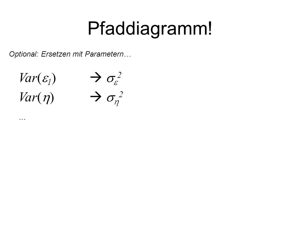 Pfaddiagramm! Var( 1 ) 2 Var( ) 2 … Optional: Ersetzen mit Parametern…