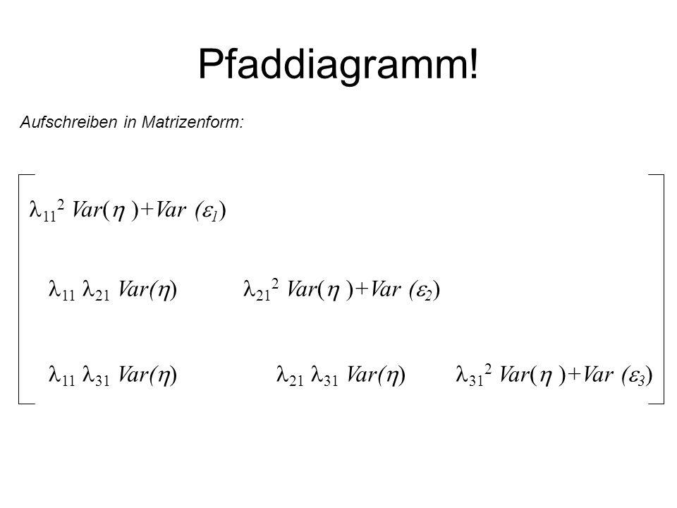 Pfaddiagramm! Aufschreiben in Matrizenform: 11 2 Var( )+Var ( 1 ) 21 2 Var( )+Var ( 2 ) 31 2 Var( )+Var ( 3 ) 11 21 Var( ) 11 31 Var( ) 21 31 Var( )