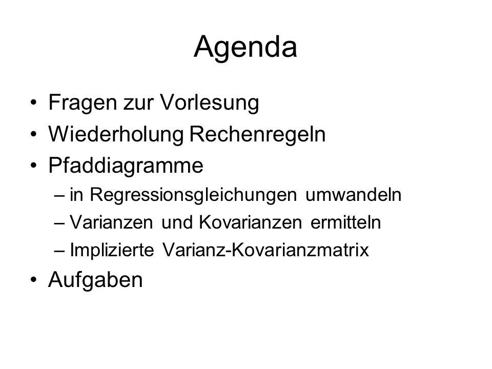 Agenda Fragen zur Vorlesung Wiederholung Rechenregeln Pfaddiagramme –in Regressionsgleichungen umwandeln –Varianzen und Kovarianzen ermitteln –Implizi