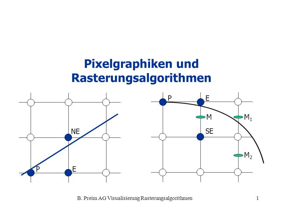 B. Preim AG Visualisierung Rasterungsalgorithmen1 Pixelgraphiken und Rasterungsalgorithmen PE NE PE SE MM1M1 M2M2