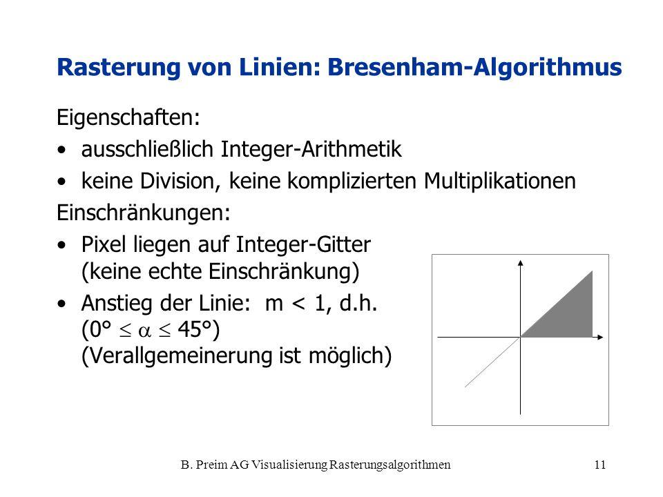 B. Preim AG Visualisierung Rasterungsalgorithmen11 Rasterung von Linien: Bresenham-Algorithmus Eigenschaften: ausschließlich Integer-Arithmetik keine