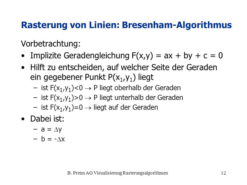 B. Preim AG Visualisierung Rasterungsalgorithmen12 Vorbetrachtung: Implizite Geradengleichung F(x,y) = ax + by + c = 0 Hilft zu entscheiden, auf welch