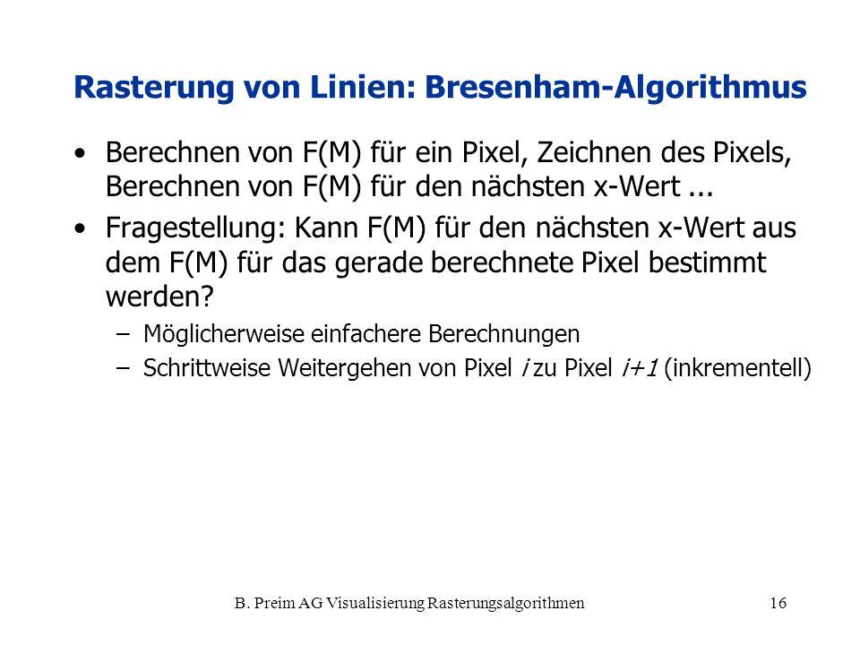 B. Preim AG Visualisierung Rasterungsalgorithmen16 Berechnen von F(M) für ein Pixel, Zeichnen des Pixels, Berechnen von F(M) für den nächsten x-Wert..
