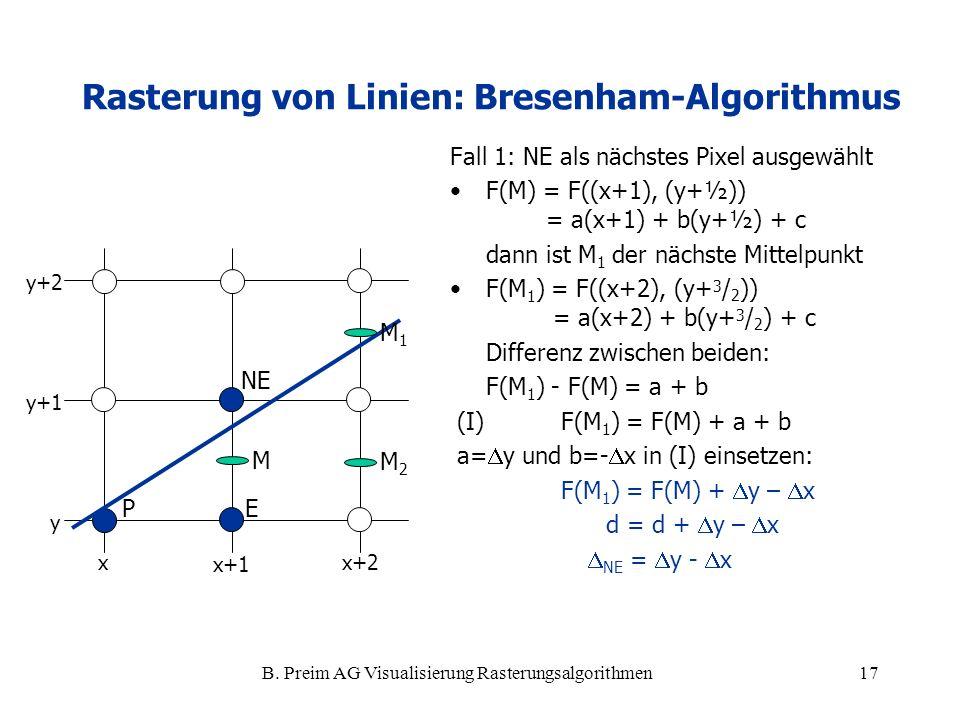 B. Preim AG Visualisierung Rasterungsalgorithmen17 Fall 1: NE als nächstes Pixel ausgewählt F(M) = F((x+1), (y+½)) = a(x+1) + b(y+½) + c dann ist M 1