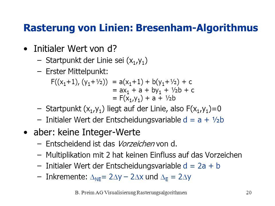 B. Preim AG Visualisierung Rasterungsalgorithmen20 Initialer Wert von d? –Startpunkt der Linie sei (x 1,y 1 ) –Erster Mittelpunkt: F((x 1 +1), (y 1 +½
